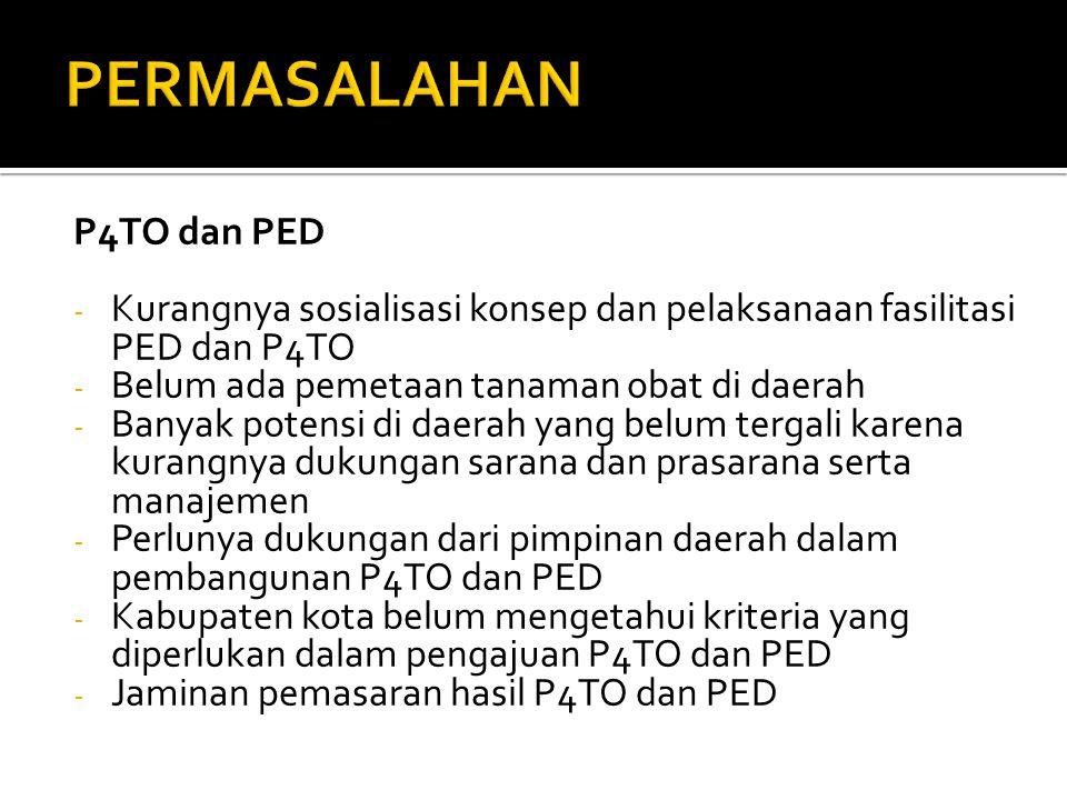 P4TO dan PED - Kurangnya sosialisasi konsep dan pelaksanaan fasilitasi PED dan P4TO - Belum ada pemetaan tanaman obat di daerah - Banyak potensi di da