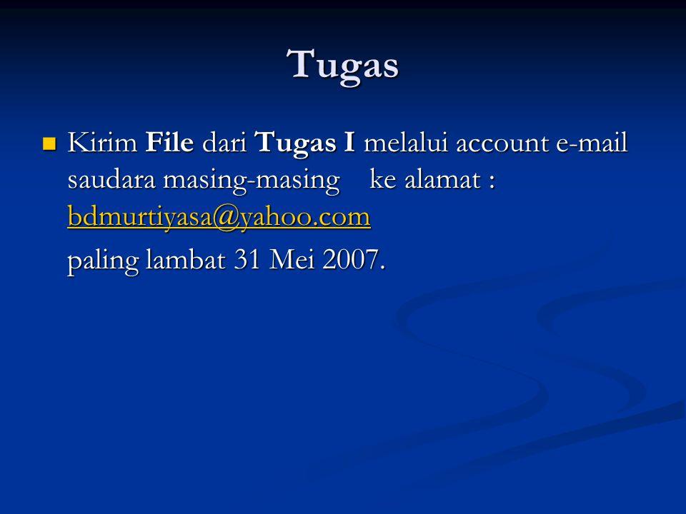 Tugas Kirim File dari Tugas I melalui account e-mail saudara masing-masing ke alamat : bdmurtiyasa@yahoo.com Kirim File dari Tugas I melalui account e