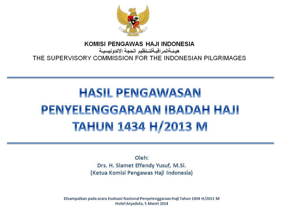 Disampaikan pada acara Evaluasi Nasional Penyelenggaraan Haji Tahun 1434 H/2013 M Hotel Aryaduta, 5 Maret 2014 Oleh: Drs. H. Slamet Effendy Yusuf, M.S