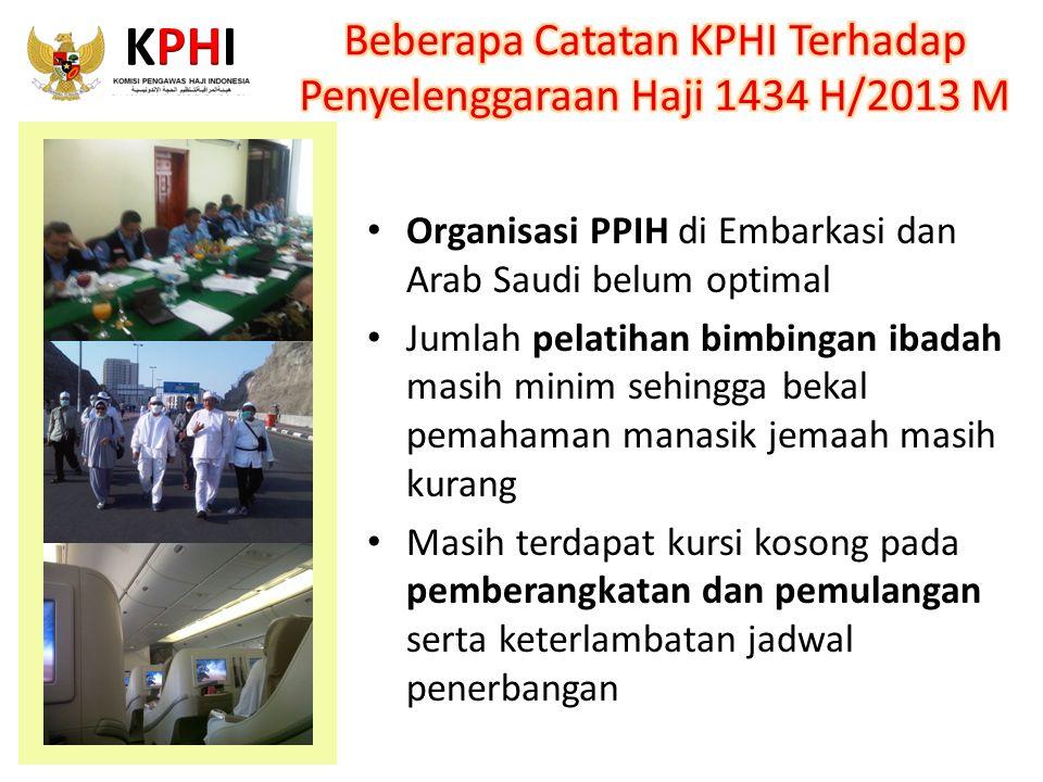 Organisasi PPIH di Embarkasi dan Arab Saudi belum optimal Jumlah pelatihan bimbingan ibadah masih minim sehingga bekal pemahaman manasik jemaah masih