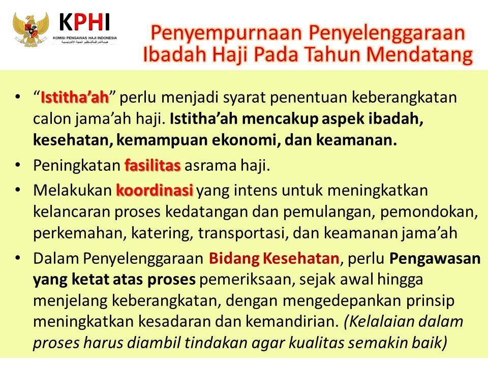 """Istitha'ah """"Istitha'ah"""" perlu menjadi syarat penentuan keberangkatan calon jama'ah haji. Istitha'ah mencakup aspek ibadah, kesehatan, kemampuan ekonom"""