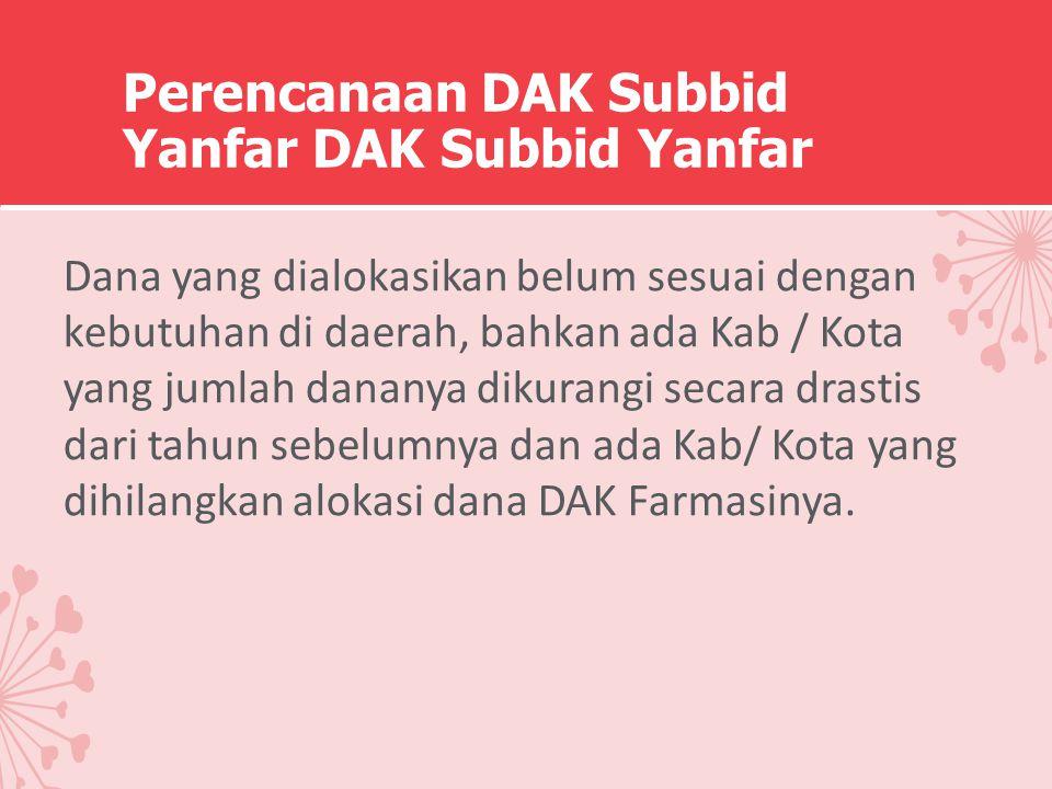 Perencanaan DAK Subbid Yanfar DAK Subbid Yanfar Dana yang dialokasikan belum sesuai dengan kebutuhan di daerah, bahkan ada Kab / Kota yang jumlah dana