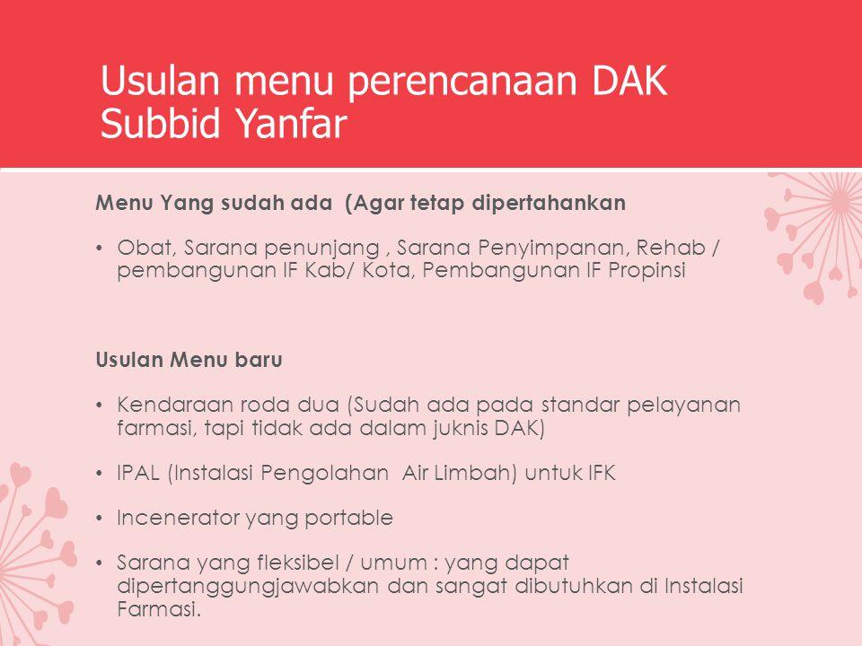 Usulan menu perencanaan DAK Subbid Yanfar Menu Yang sudah ada (Agar tetap dipertahankan Obat, Sarana penunjang, Sarana Penyimpanan, Rehab / pembanguna