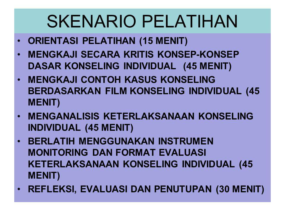 SKENARIO PELATIHAN ORIENTASI PELATIHAN (15 MENIT) MENGKAJI SECARA KRITIS KONSEP-KONSEP DASAR KONSELING INDIVIDUAL (45 MENIT) MENGKAJI CONTOH KASUS KON