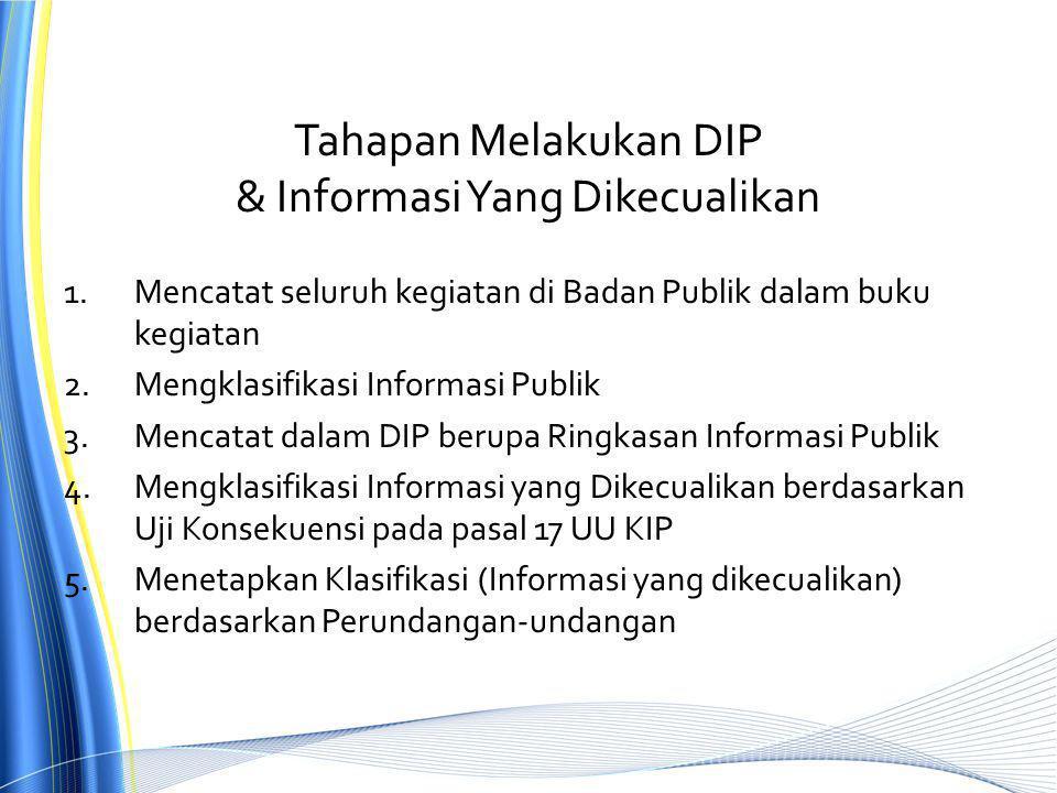 Tahapan Melakukan DIP & Informasi Yang Dikecualikan 1.Mencatat seluruh kegiatan di Badan Publik dalam buku kegiatan 2.Mengklasifikasi Informasi Publik 3.Mencatat dalam DIP berupa Ringkasan Informasi Publik 4.Mengklasifikasi Informasi yang Dikecualikan berdasarkan Uji Konsekuensi pada pasal 17 UU KIP 5.Menetapkan Klasifikasi (Informasi yang dikecualikan) berdasarkan Perundangan-undangan