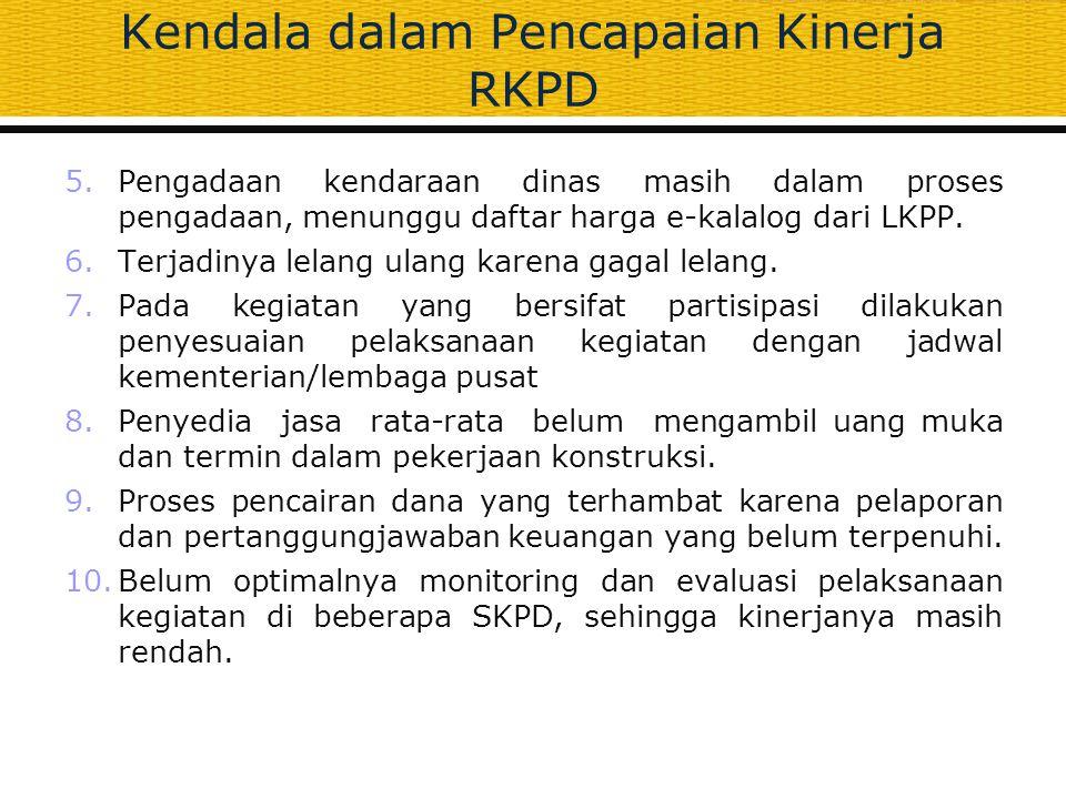 Kendala dalam Pencapaian Kinerja RKPD 5.Pengadaan kendaraan dinas masih dalam proses pengadaan, menunggu daftar harga e-kalalog dari LKPP. 6.Terjadiny