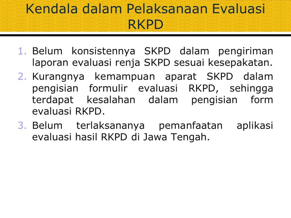 Kendala dalam Pelaksanaan Evaluasi RKPD 1.Belum konsistennya SKPD dalam pengiriman laporan evaluasi renja SKPD sesuai kesepakatan. 2.Kurangnya kemampu