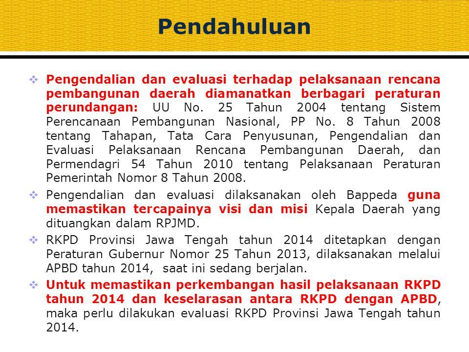 Maksud dan Tujuan  Maksud Untuk menilai dan mengevaluasi pencapaian target rencana program dan kegiatan prioritas daerah sebagaimana tercantum dalam RKPD Tahun 2014 sesuai dengan amanat Permendagri Nomor 23 tahun 2013 tentang Pedoman Penyusunan, Pengendalian dan Evaluasi Rencana Kerja Pembangunan Daerah Tahun 2014.