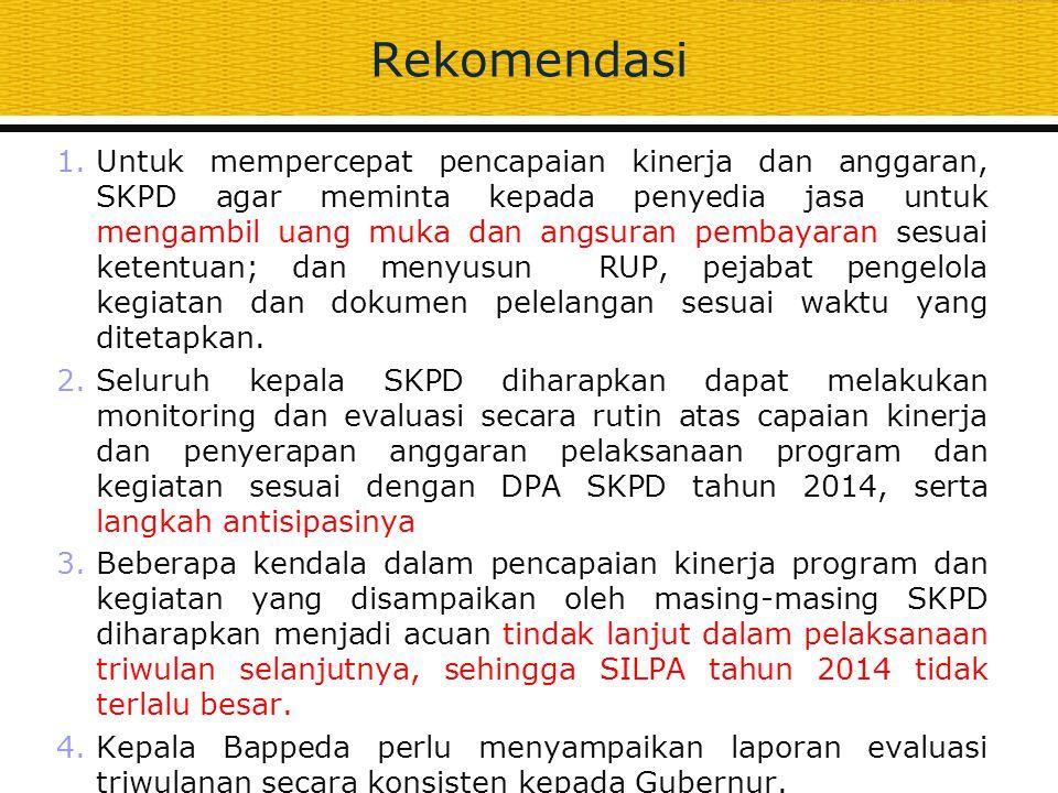 Rekomendasi 1.Untuk mempercepat pencapaian kinerja dan anggaran, SKPD agar meminta kepada penyedia jasa untuk mengambil uang muka dan angsuran pembaya