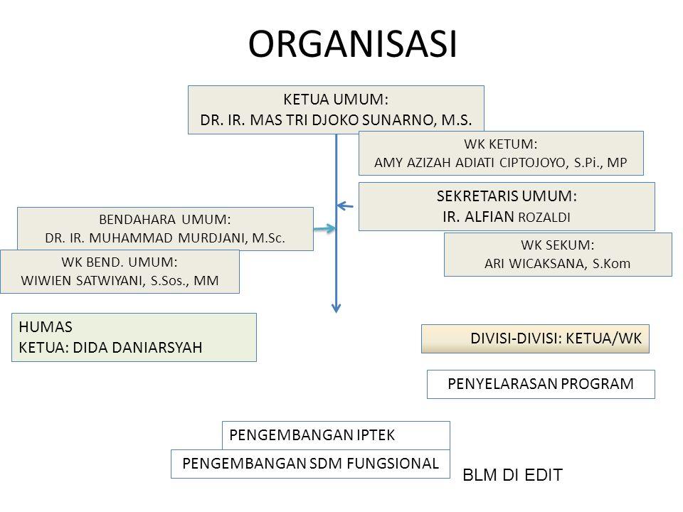 ORGANISASI KETUA UMUM: DR.IR. MAS TRI DJOKO SUNARNO, M.S.