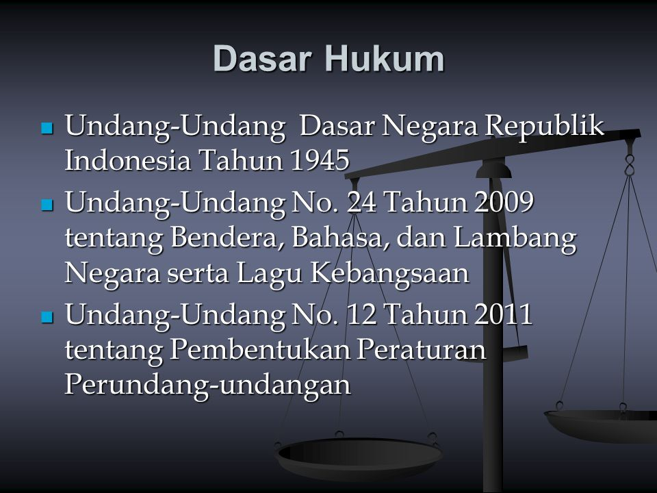 Dasar Hukum Pasal 36 UUD 1945 Pasal 36 UUD 1945 Bahasa Negara ialah Bahasa Indonesia Pasal 36C UUD 1945 Pasal 36C UUD 1945 Ketentuan lebih lanjut tentang Bendera, Bahasa, dan Lambang Negara, serta Lagu Kebangsaan diatur dengan undang- undang.