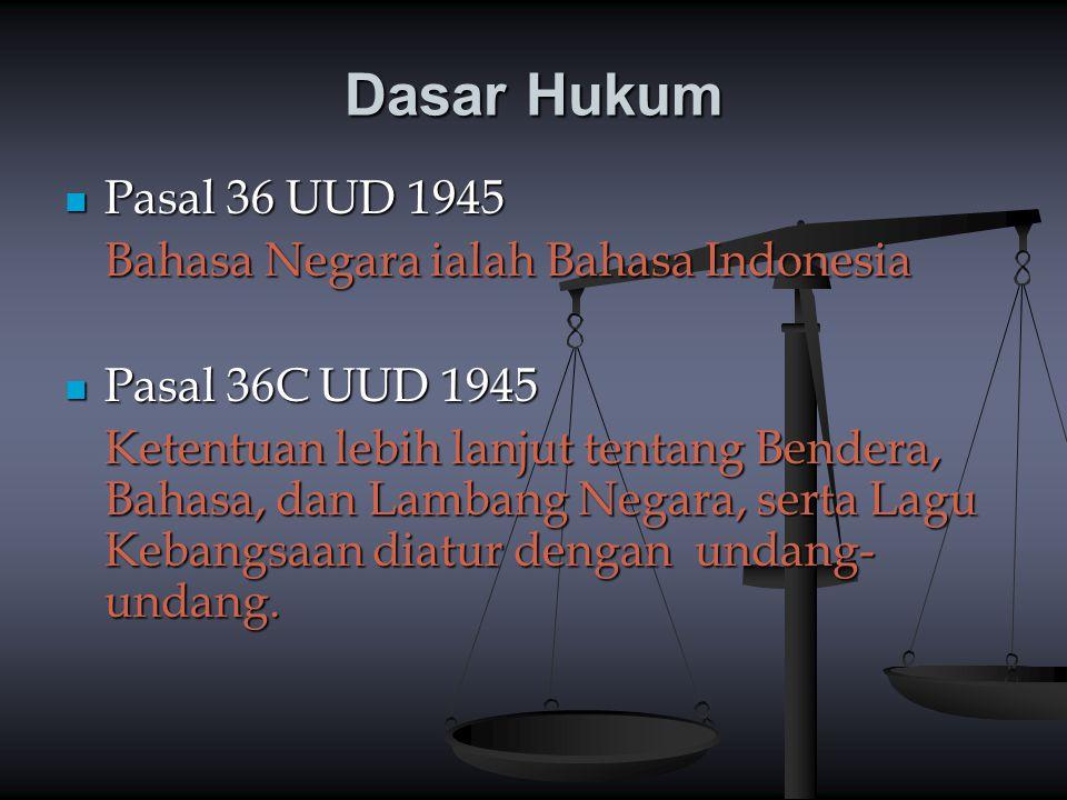 Dasar Hukum Pasal 36 UUD 1945 Pasal 36 UUD 1945 Bahasa Negara ialah Bahasa Indonesia Pasal 36C UUD 1945 Pasal 36C UUD 1945 Ketentuan lebih lanjut tent