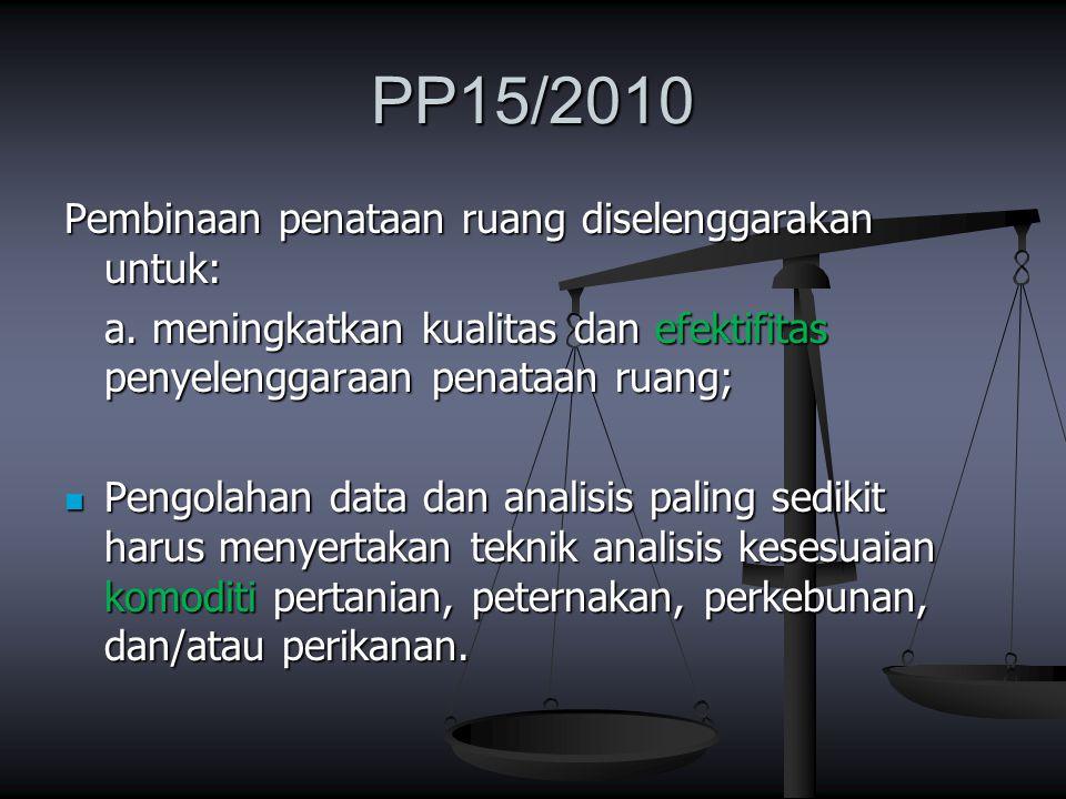 PP15/2010 Pembinaan penataan ruang diselenggarakan untuk: a. meningkatkan kualitas dan efektifitas penyelenggaraan penataan ruang; Pengolahan data dan