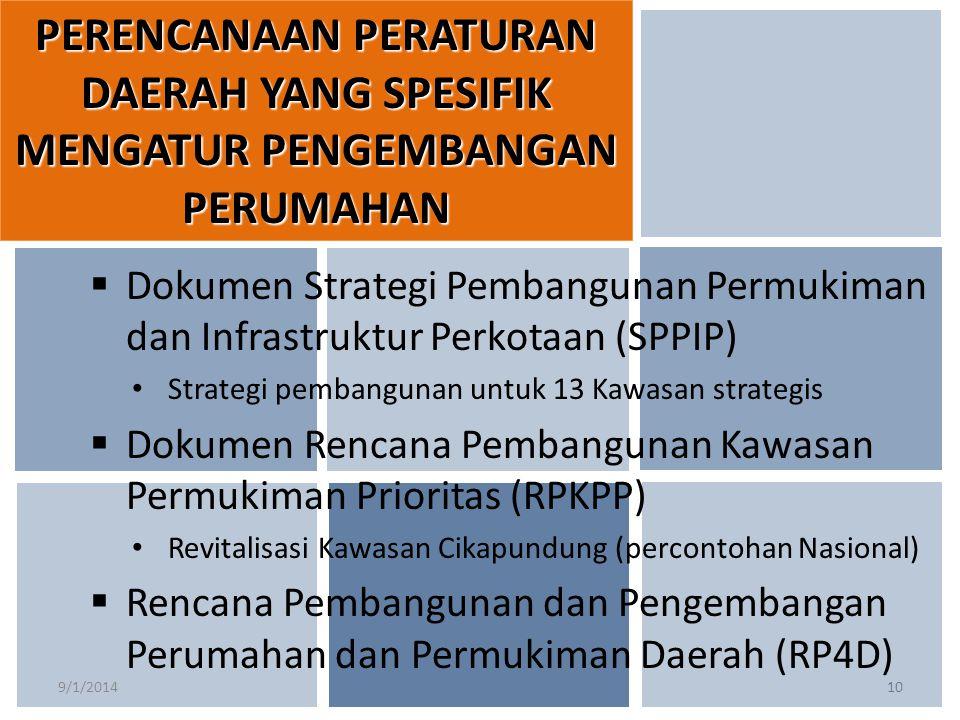 9/1/201410  Dokumen Strategi Pembangunan Permukiman dan Infrastruktur Perkotaan (SPPIP) Strategi pembangunan untuk 13 Kawasan strategis  Dokumen Ren