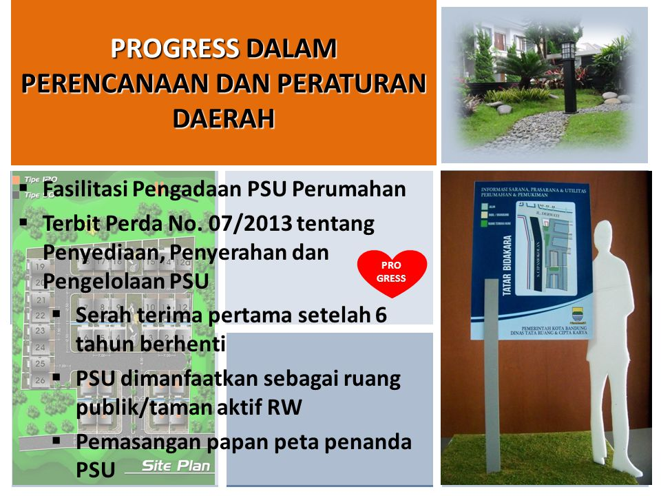 9/1/201411  Fasilitasi Pengadaan PSU Perumahan  Terbit Perda No. 07/2013 tentang Penyediaan, Penyerahan dan Pengelolaan PSU  Serah terima pertama s