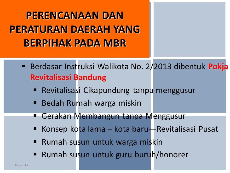 9/1/20146 Pokja Revitalisasi Bandung  Berdasar Instruksi Walikota No. 2/2013 dibentuk Pokja Revitalisasi Bandung  Revitalisasi Cikapundung tanpa men