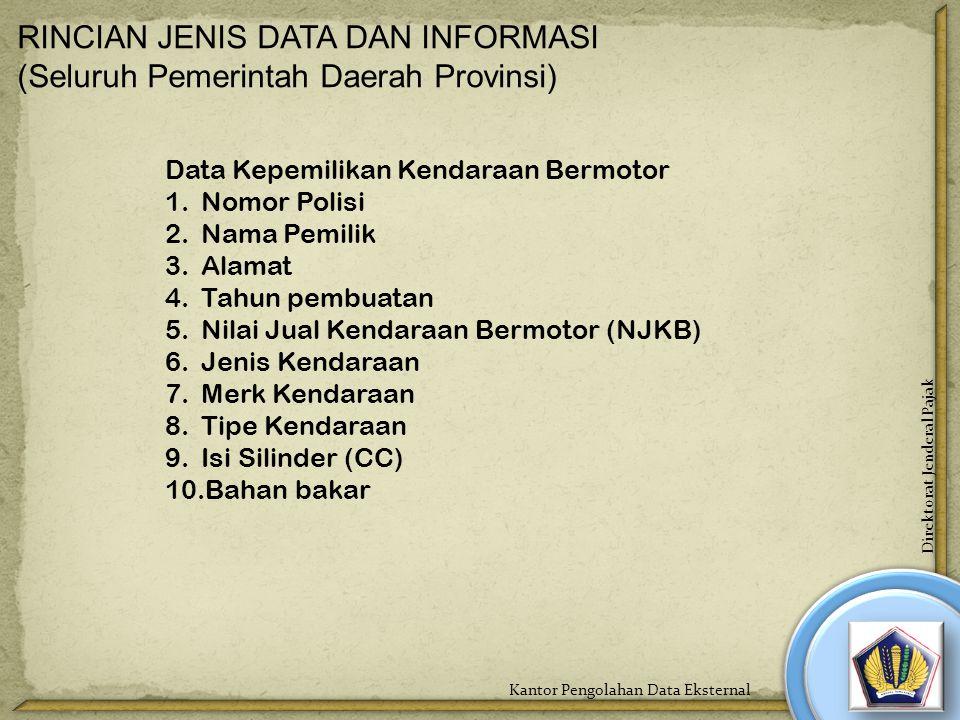 RINCIAN JENIS DATA DAN INFORMASI (Seluruh Pemerintah Daerah Provinsi) Data Kepemilikan Kendaraan Bermotor 1.Nomor Polisi 2.Nama Pemilik 3.Alamat 4.Tah