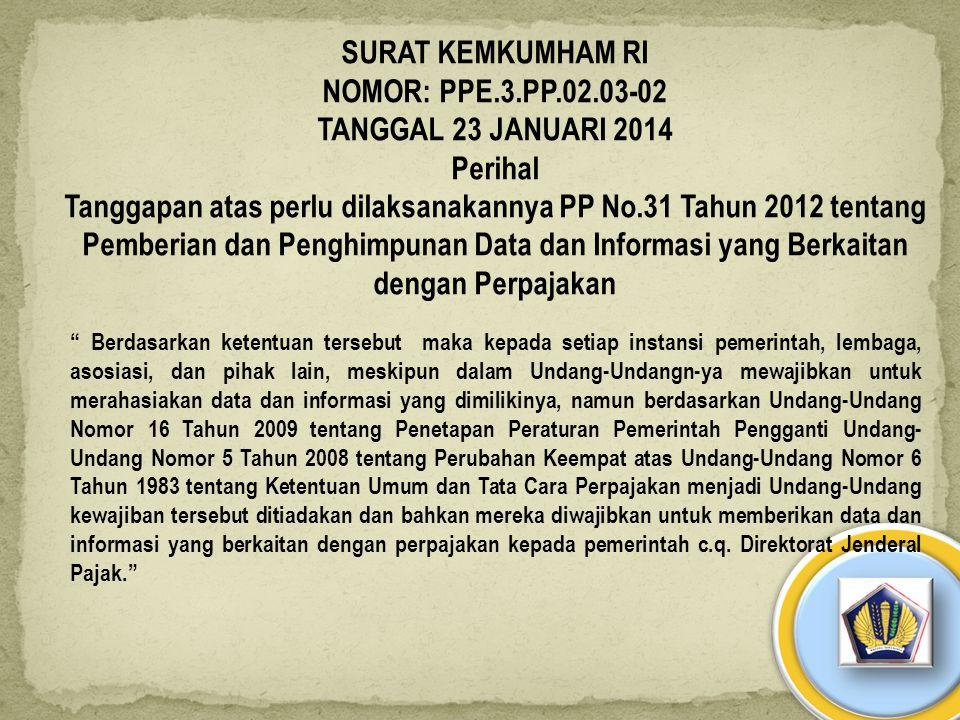SURAT KEMKUMHAM RI NOMOR: PPE.3.PP.02.03-02 TANGGAL 23 JANUARI 2014 Perihal Tanggapan atas perlu dilaksanakannya PP No.31 Tahun 2012 tentang Pemberian
