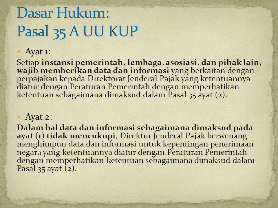 Ayat 1: Setiap instansi pemerintah, lembaga, asosiasi, dan pihak lain, wajib memberikan data dan informasi yang berkaitan dengan perpajakan kepada Dir