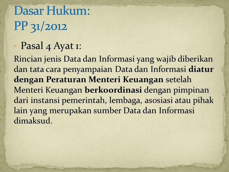 Pasal 4 Ayat 1: Rincian jenis Data dan Informasi yang wajib diberikan dan tata cara penyampaian Data dan Informasi diatur dengan Peraturan Menteri Keu