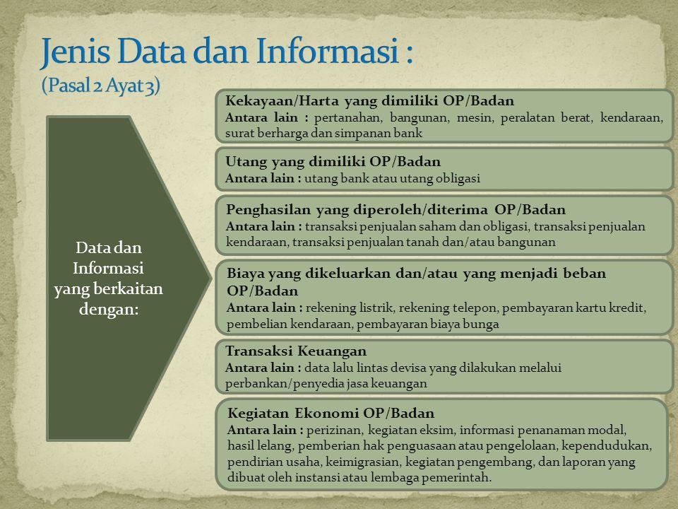 Data dan Informasi yang berkaitan dengan: Kekayaan/Harta yang dimiliki OP/Badan Antara lain : pertanahan, bangunan, mesin, peralatan berat, kendaraan,