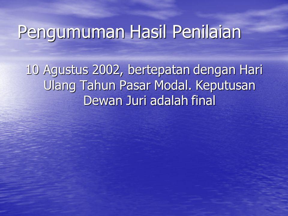 Pengumuman Hasil Penilaian 10 Agustus 2002, bertepatan dengan Hari Ulang Tahun Pasar Modal. Keputusan Dewan Juri adalah final