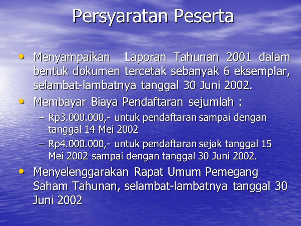 Persyaratan Peserta Menyampaikan Laporan Tahunan 2001 dalam bentuk dokumen tercetak sebanyak 6 eksemplar, selambat-lambatnya tanggal 30 Juni 2002. Men