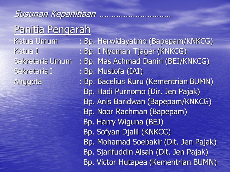 Panitia Pengarah Ketua Umum : Bp. Herwidayatmo (Bapepam/KNKCG) Ketua I : Bp. I Nyoman Tjager (KNKCG) Sekretaris Umum : Bp. Mas Achmad Daniri (BEJ/KNKC