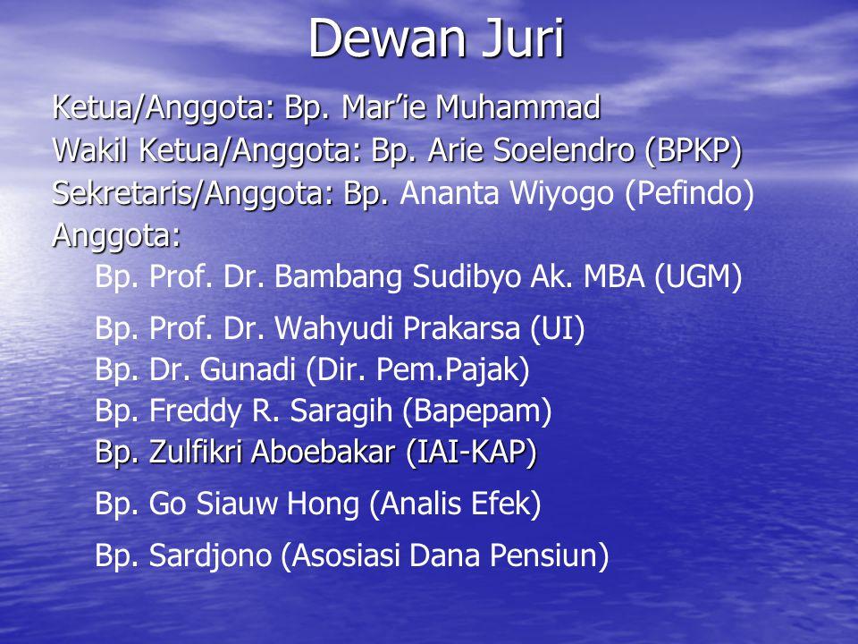 Dewan Juri Ketua/Anggota: Bp. Mar'ie Muhammad Wakil Ketua/Anggota: Bp. Arie Soelendro (BPKP) Sekretaris/Anggota: Bp. Sekretaris/Anggota: Bp. Ananta Wi