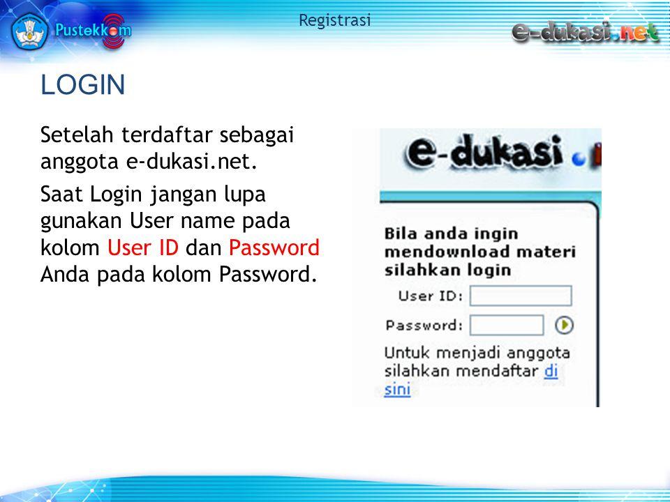 LOGIN Setelah terdaftar sebagai anggota e-dukasi.net.