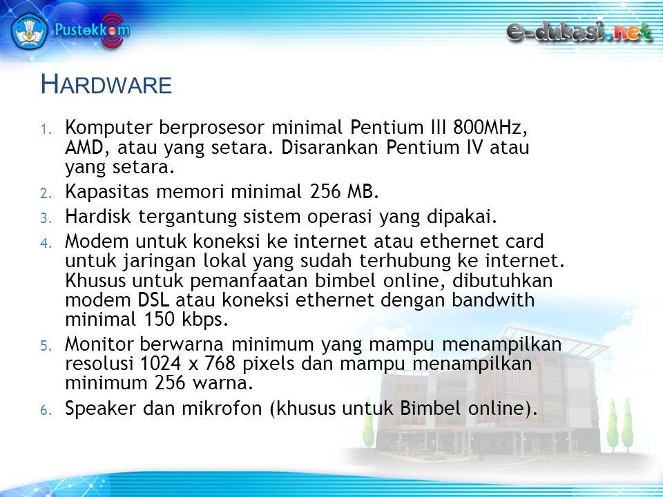 H ARDWARE 1. Komputer berprosesor minimal Pentium III 800MHz, AMD, atau yang setara.