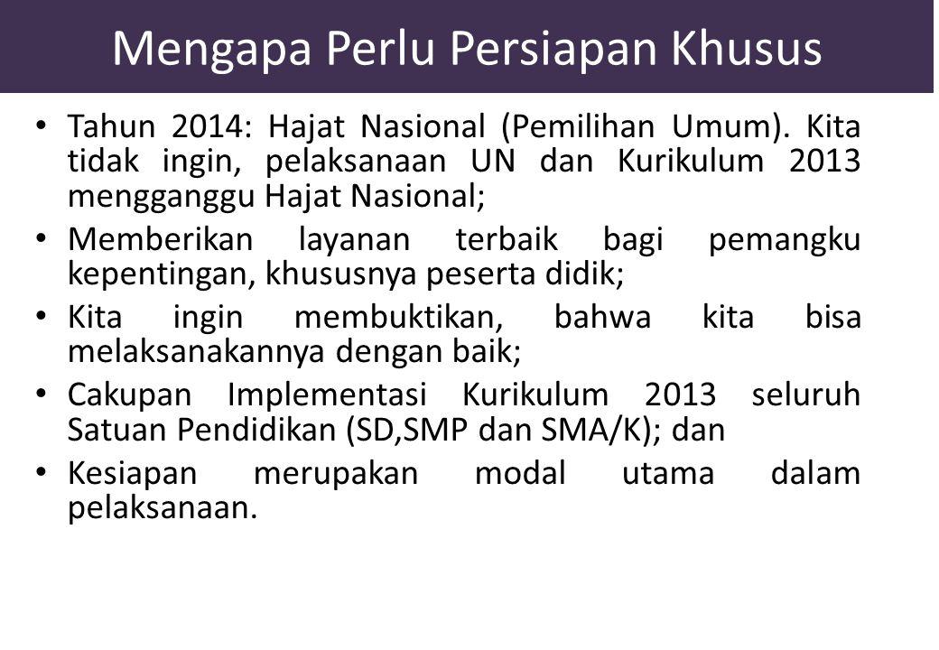 Mengapa Perlu Persiapan Khusus Tahun 2014: Hajat Nasional (Pemilihan Umum). Kita tidak ingin, pelaksanaan UN dan Kurikulum 2013 mengganggu Hajat Nasio