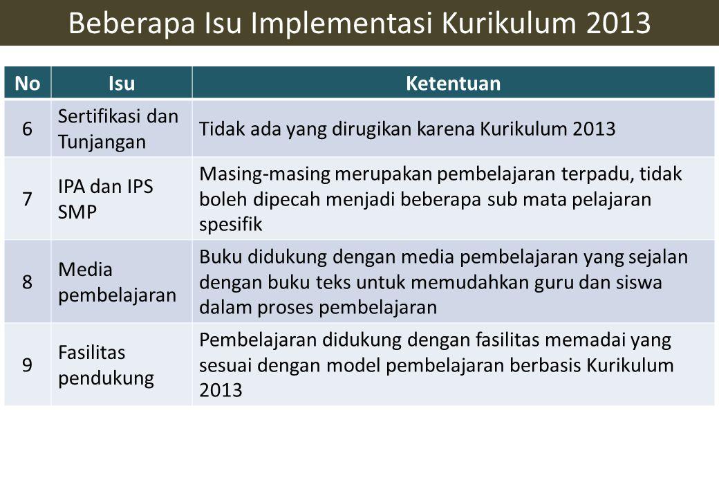 NoIsuKetentuan 6 Sertifikasi dan Tunjangan Tidak ada yang dirugikan karena Kurikulum 2013 7 IPA dan IPS SMP Masing-masing merupakan pembelajaran terpa