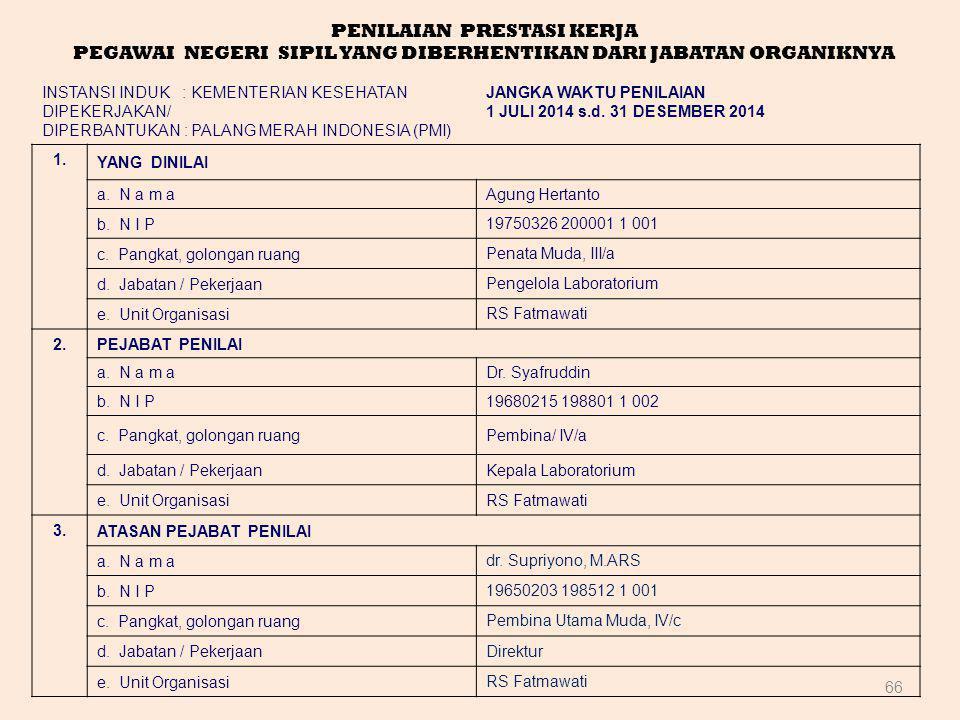66 PENILAIAN PRESTASI KERJA PEGAWAI NEGERI SIPIL YANG DIBERHENTIKAN DARI JABATAN ORGANIKNYA INSTANSI INDUK : KEMENTERIAN KESEHATAN DIPEKERJAKAN/ DIPER