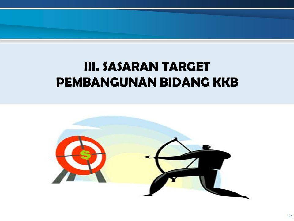 III. SASARAN TARGET PEMBANGUNAN BIDANG KKB 13