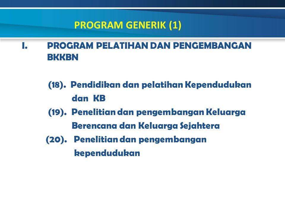 I.PROGRAM PELATIHAN DAN PENGEMBANGAN BKKBN (18). Pendidikan dan pelatihan Kependudukan dan KB (19). Penelitian dan pengembangan Keluarga Berencana dan