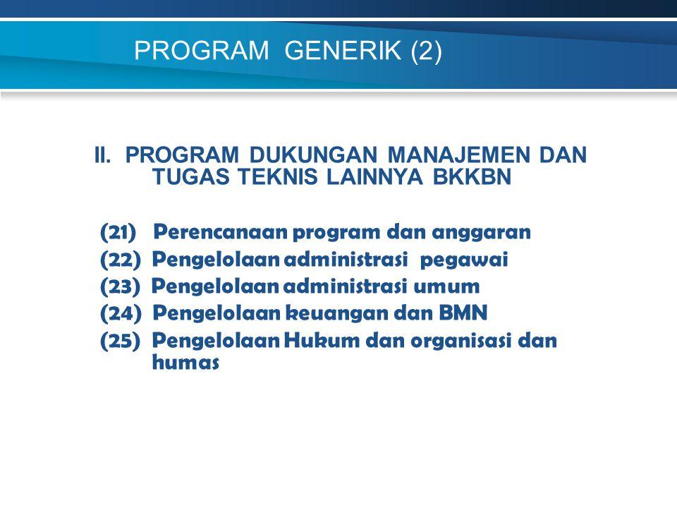 PROGRAM GENERIK (2) II. PROGRAM DUKUNGAN MANAJEMEN DAN TUGAS TEKNIS LAINNYA BKKBN (21) Perencanaan program dan anggaran (22) Pengelolaan administrasi