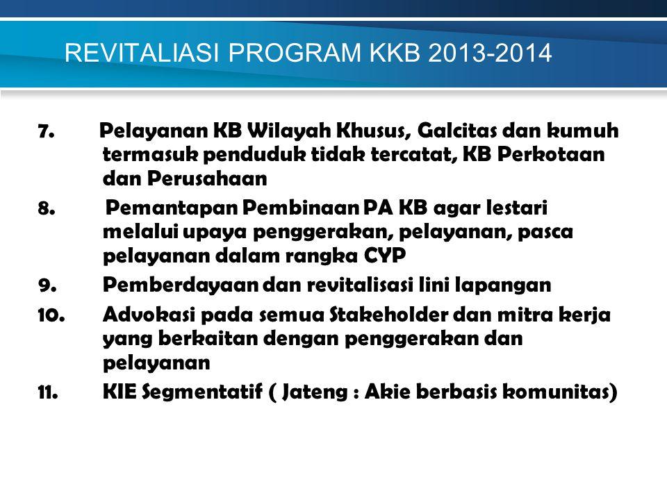 REVITALIASI PROGRAM KKB 2013-2014 7. Pelayanan KB Wilayah Khusus, Galcitas dan kumuh termasuk penduduk tidak tercatat, KB Perkotaan dan Perusahaan 8.