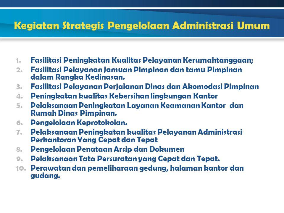 Kegiatan Strategis Pengelolaan Administrasi Umum 1.Fasilitasi Peningkatan Kualitas Pelayanan Kerumahtanggaan; 2.Fasilitasi Pelayanan Jamuan Pimpinan d