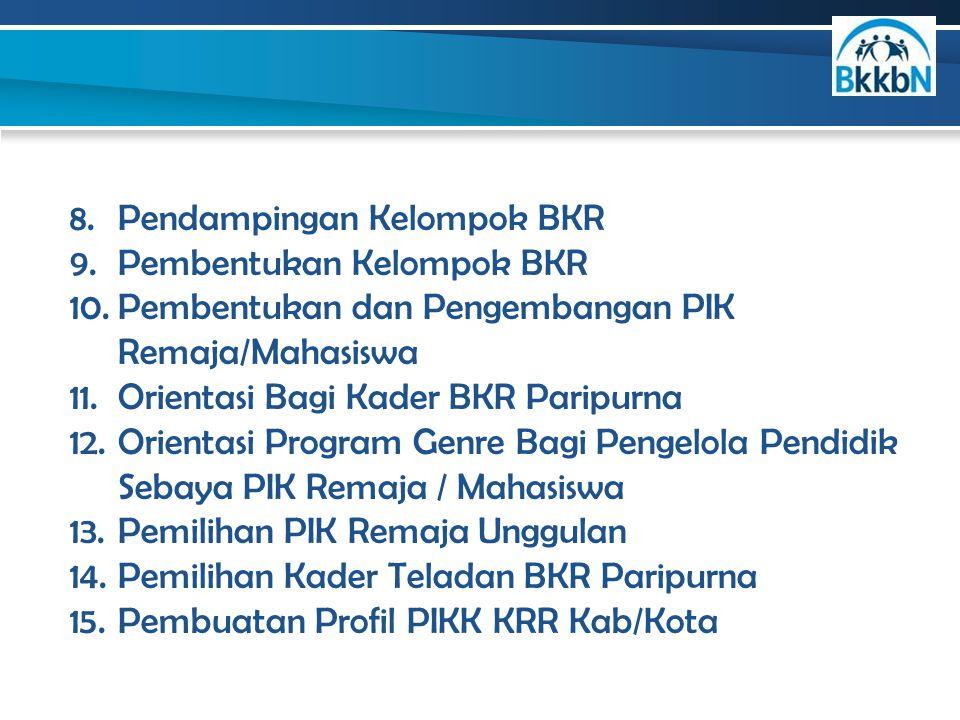 8.Pendampingan Kelompok BKR 9.Pembentukan Kelompok BKR 10.Pembentukan dan Pengembangan PIK Remaja/Mahasiswa 11.Orientasi Bagi Kader BKR Paripurna 12.O