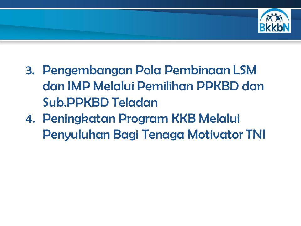 3.Pengembangan Pola Pembinaan LSM dan IMP Melalui Pemilihan PPKBD dan Sub.PPKBD Teladan 4.Peningkatan Program KKB Melalui Penyuluhan Bagi Tenaga Motiv