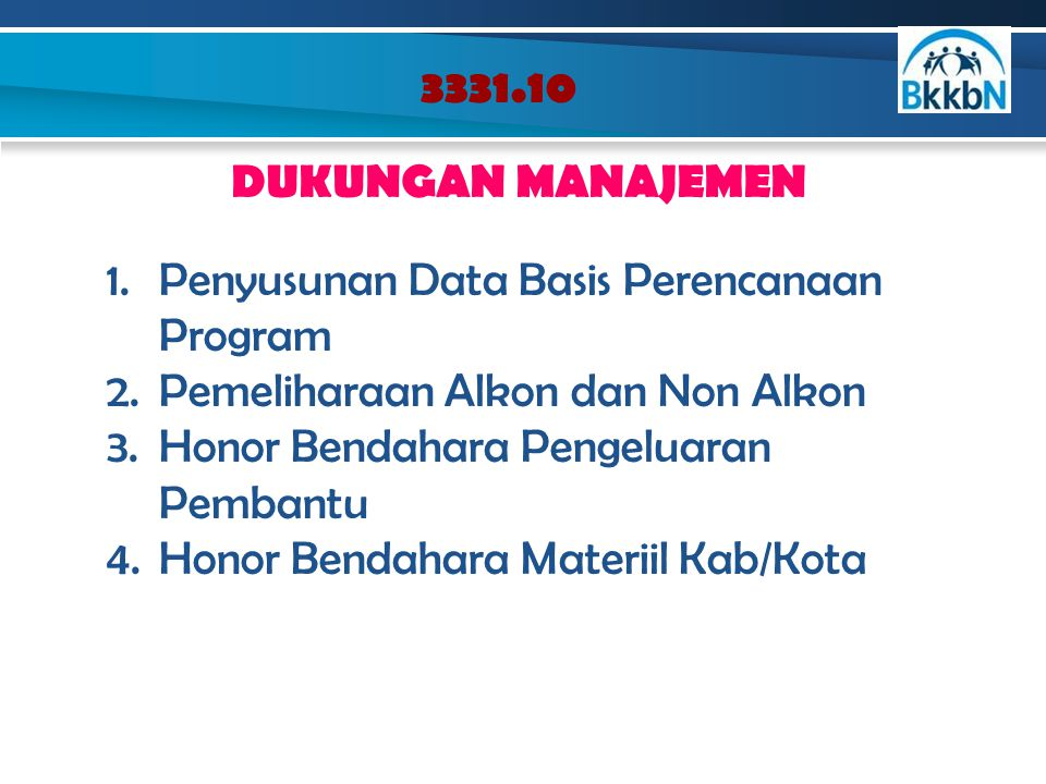 3331.10 DUKUNGAN MANAJEMEN 1.Penyusunan Data Basis Perencanaan Program 2.Pemeliharaan Alkon dan Non Alkon 3.Honor Bendahara Pengeluaran Pembantu 4.Hon