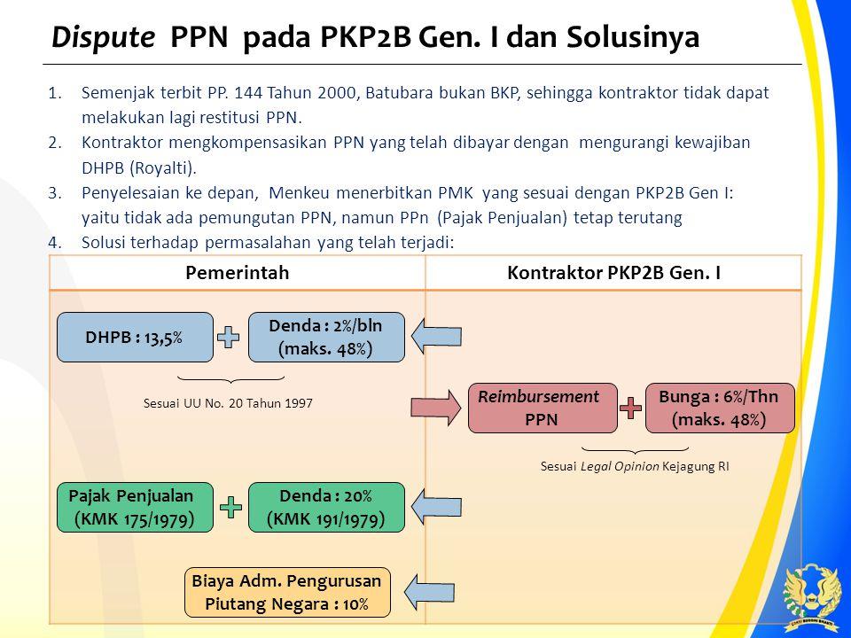 PemerintahKontraktor PKP2B Gen. I Dispute PPN pada PKP2B Gen. I dan Solusinya 1.Semenjak terbit PP. 144 Tahun 2000, Batubara bukan BKP, sehingga kontr