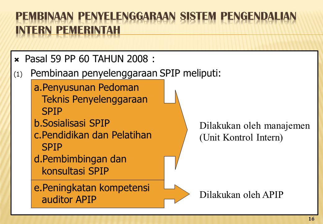  Pasal 59 PP 60 TAHUN 2008 : (1) Pembinaan penyelenggaraan SPIP meliputi: a.Penyusunan Pedoman Teknis Penyelenggaraan SPIP b.Sosialisasi SPIP c.Pendidikan dan Pelatihan SPIP d.Pembimbingan dan konsultasi SPIP e.Peningkatan kompetensi auditor APIP Dilakukan oleh manajemen (Unit Kontrol Intern) Dilakukan oleh APIP 16