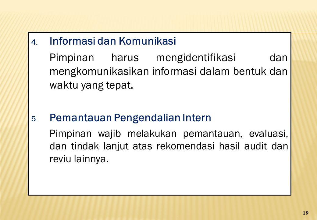 4. Informasi dan Komunikasi Pimpinan harus mengidentifikasi dan mengkomunikasikan informasi dalam bentuk dan waktu yang tepat. 5. Pemantauan Pengendal