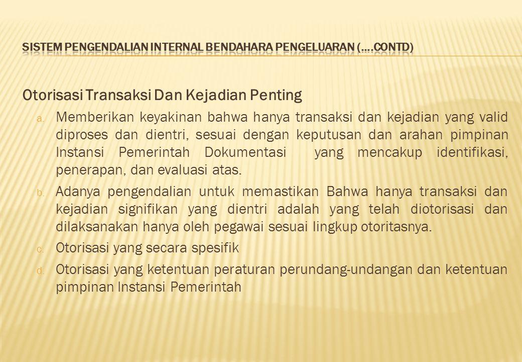 Otorisasi Transaksi Dan Kejadian Penting a.