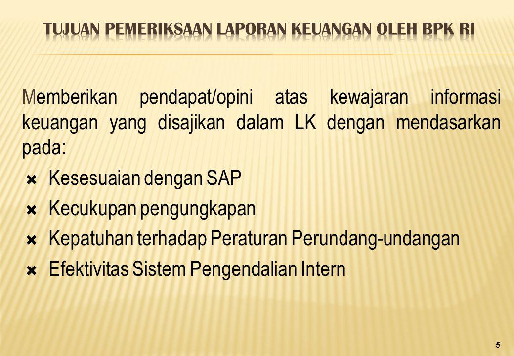Memberikan pendapat/opini atas kewajaran informasi keuangan yang disajikan dalam LK dengan mendasarkan pada:  Kesesuaian dengan SAP  Kecukupan pengungkapan  Kepatuhan terhadap Peraturan Perundang-undangan  Efektivitas Sistem Pengendalian Intern 5