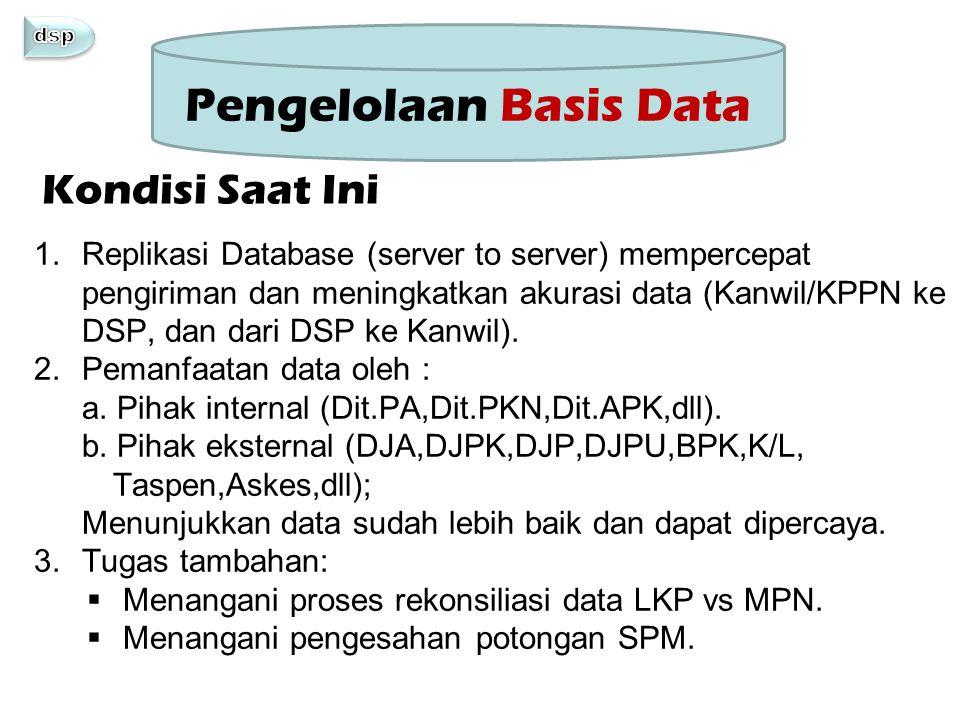 1.Replikasi Database (server to server) mempercepat pengiriman dan meningkatkan akurasi data (Kanwil/KPPN ke DSP, dan dari DSP ke Kanwil). 2.Pemanfaat