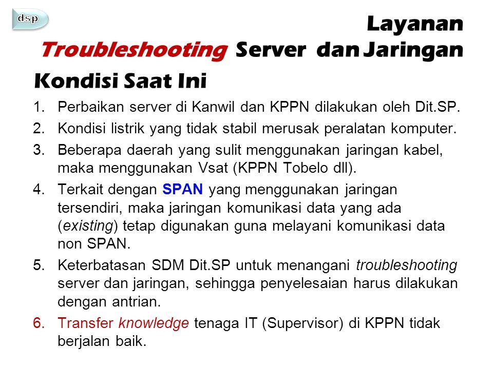 Layanan Troubleshooting Server dan Jaringan 1.Perbaikan server di Kanwil dan KPPN dilakukan oleh Dit.SP. 2.Kondisi listrik yang tidak stabil merusak p