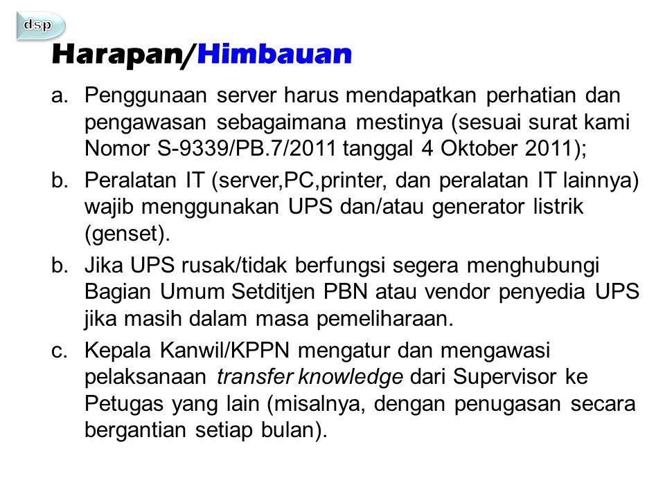 Harapan/Himbauan a.Penggunaan server harus mendapatkan perhatian dan pengawasan sebagaimana mestinya (sesuai surat kami Nomor S-9339/PB.7/2011 tanggal